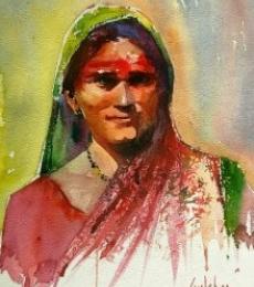Rangu Watercolour | Painting by artist Gulshan Achari | watercolor | Paper