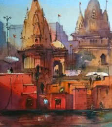 Scenic Watercolor Art Painting title Red Is Holy by artist Gulshan Achari