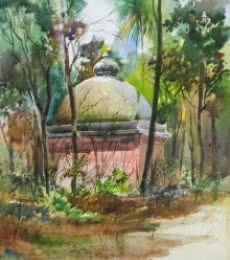 Nature Watercolor Art Painting title 'See Through' by artist Gulshan Achari