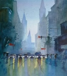 The Confusing Red Light   Painting by artist Gulshan Achari   watercolor   Paper