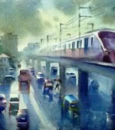 Cityscape Watercolor Art Painting title 'The Flying Metro' by artist Gulshan Achari