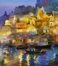 Scenic Watercolor Art Painting title 'The Glowing Banaras' by artist Gulshan Achari