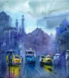 Cityscape Watercolor Art Painting title 'The Purple Patch' by artist Gulshan Achari