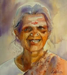 The Smile | Painting by artist Gulshan Achari | watercolor | Paper