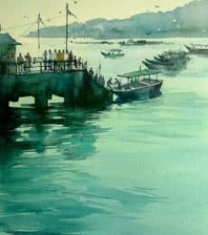 Seascape Watercolor Art Painting title 'The Viridian Effect' by artist Gulshan Achari