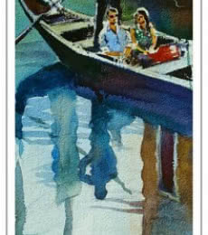 Figurative Watercolor Art Painting title Reflections by artist Gulshan Achari