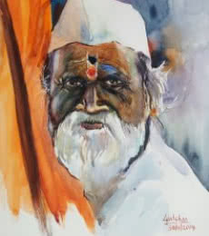 Figurative Watercolor Art Painting title 'Signature of experience' by artist Gulshan Achari