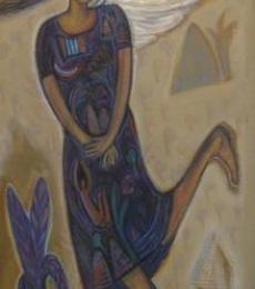 Flying Angel Ii | Mixed_media by artist Arpita Chandra | Canvas