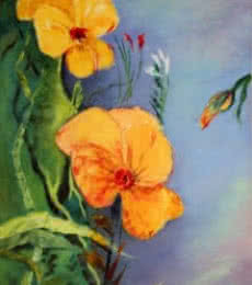 Krupa Shah | Oil Painting title Yellow Flowers on Canvas | Artist Krupa Shah Gallery | ArtZolo.com