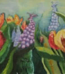 Nature Oil Art Painting title 'Flowers in Wild' by artist Krupa Shah