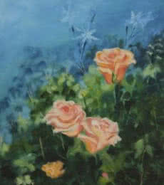Krupa Shah | Oil Painting title Roses on Canvas