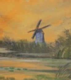 Landscape Oil Art Painting title 'Windmill' by artist Krupa Shah