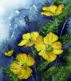 Nature Watercolor Art Painting title 'Yellow Flowers' by artist Krupa Shah