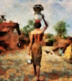 Indian Villagers | Digital_art by artist Pushpendu Dutta | Art print on Canvas