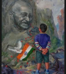 A Young Patriot | Painting by artist Mahesh RC | oil | Canvas