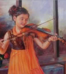 Figurative Oil Art Painting title Girl Learning Violin by artist Mahesh RC