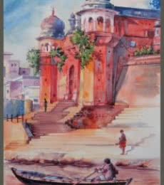 Landscape Watercolor Art Painting title 'Varanasi banaras' by artist Mahesh RC