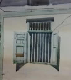 Landscape Watercolor Art Painting title 'Window Of a Wall' by artist Kiran Gunjkar