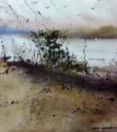 Landscape Watercolor Art Painting title Jim Corbet ( Uttar Pradesh ) by artist Kiran Gunjkar