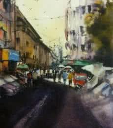 Cityscape Watercolor Art Painting title Cst ( Bora Bazar ) by artist Kiran Gunjkar