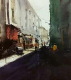 Cityscape Watercolor Art Painting title Cst (Bora Bazar) by artist Kiran Gunjkar