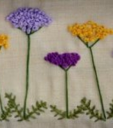 Butterflies In A Yarrow Garden | Mixed_media by artist Mohna Paranjape | Cloth