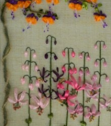 Fuchsia Martagon Lily Garden Garden | Mixed_media by artist Mohna Paranjape | Cloth