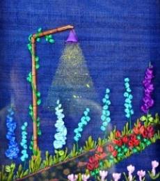Garden At Night | Mixed_media by artist Mohna Paranjape | Cloth