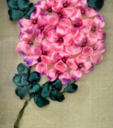 Mixed Media Painting titled 'Hydrangea' by artist Mohna Paranjape on Cloth