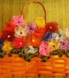 Mohna Paranjape | Ribbon Basket with Gathered Flowers Mixed media by artist Mohna Paranjape on Cloth | ArtZolo.com