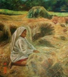 A Farm Scene | Painting by artist Manjula Dubey | oil | Canvas