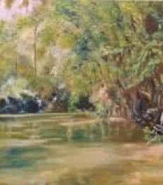 Landscape Oil Art Painting title A Forest Lake by artist Manjula Dubey