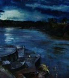 Ganga At Dusk | Painting by artist Manjula Dubey | oil | Canvas