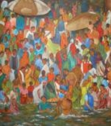 Ganga - Bathing Ghats | Painting by artist Manjula Dubey | acrylic | Canvas
