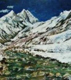Ganga - Mountain River | Painting by artist Manjula Dubey | acrylic | Canvas