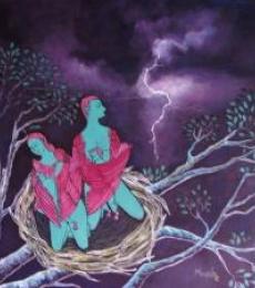 Angel Nest | Painting by artist Manjula Dubey | acrylic | Canvas