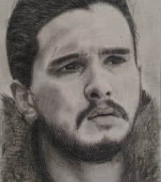 Charcoal Paintings | Drawing title Jon Snow on Paper | Artist Joanne Morais