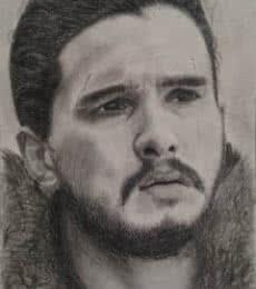 Jon Snow | Drawing by artist Joanne Morais |  | charcoal | Paper