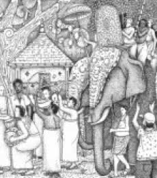 Religious Pen Art Drawing title 'Pooram' by artist Sanooj KJ
