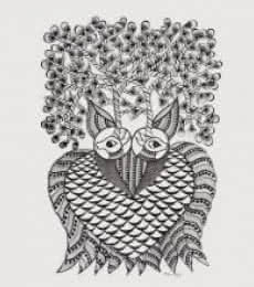 Folk Art Mixed-media Art Painting title 'Haunting Owl Gond Art' by artist Kishan Uikey