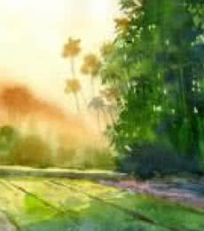 Landscape Watercolor Art Painting title 'Landscape 5' by artist Vinayak Potdar
