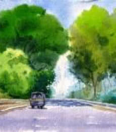 Landscape Watercolor Art Painting title Landscape 7 by artist Vinayak Potdar
