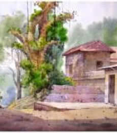 Landscape Watercolor Art Painting title 'Landscape 8' by artist Vinayak Potdar