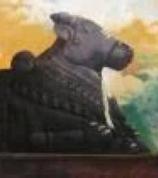 Vinayak Potdar | Acrylic Painting title Holy Nandi on Canvas | Artist Vinayak Potdar Gallery | ArtZolo.com