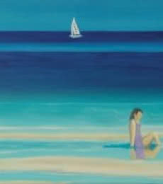Seascape Oil Art Painting title 'On The Beach' by artist SIMON MASON