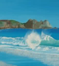 Seascape Oil Art Painting title Porthcurno Wave by artist SIMON MASON