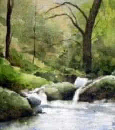 Landscape Watercolor Art Painting title 'Flow' by artist Jitendra Sule