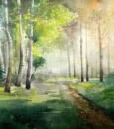 Landscape Watercolor Art Painting title 'Harmoney With Nature' by artist Jitendra Sule
