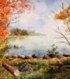 Landscape Watercolor Art Painting title 'Paradise on Earth' by artist Jitendra Sule