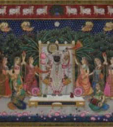 Religious Tribal Art Painting title 'Srinathji' by artist Rajendra Khanna